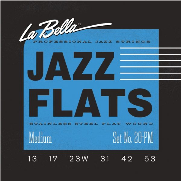 La Bella 20PM Jazz Flats Stainless Steel Flat Wound Medium