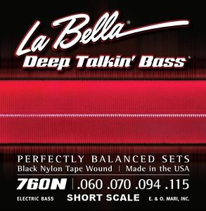 La Bella 760N-S Deep Talkin' Bass Black Nylon Tape Short Scale