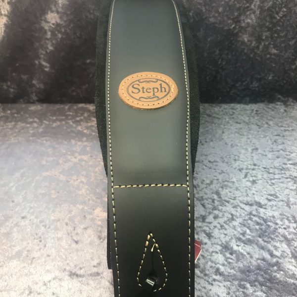 Steph GT109BLK Soft Padded Leather/Suede Guitar Strap