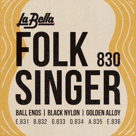 La Bella 830 Folksinger Black Nylon Golden Alloy