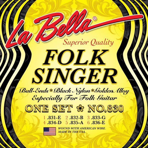 La Bella 830 Folksinger Black Nylon Golden Alloy