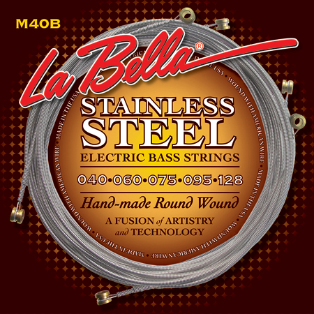 La Bella M40B Stainless Steel Round Wound 5 String Extra Light 40-128