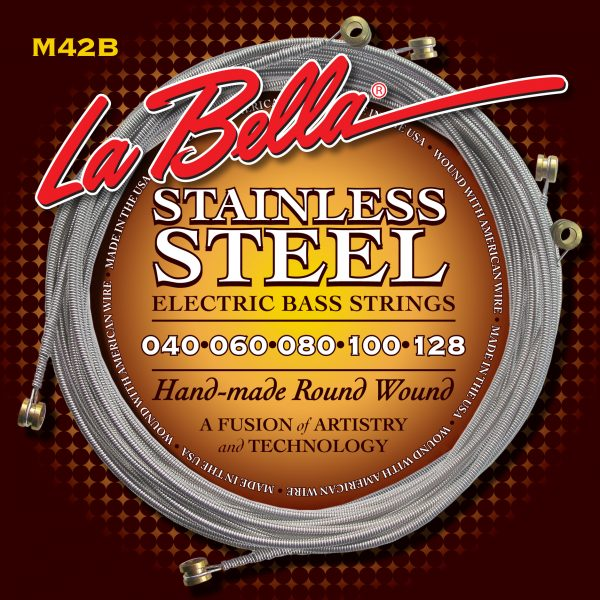 La Bella M42B Stainless Steel Round Wound 5 String Custom Light 40-128