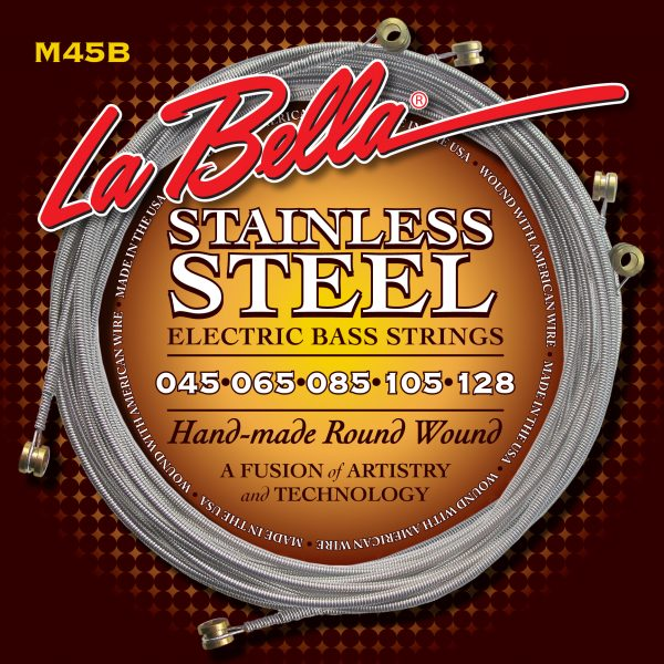 La Bella M45B Stainless Steel Round Wound 5 String Regular Light 45-128