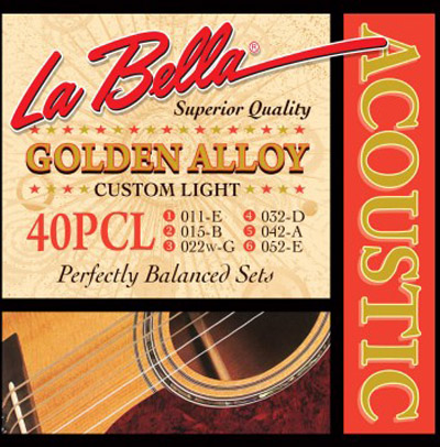 La Bella 40PCL Golden Alloy Custom Lite 80/20