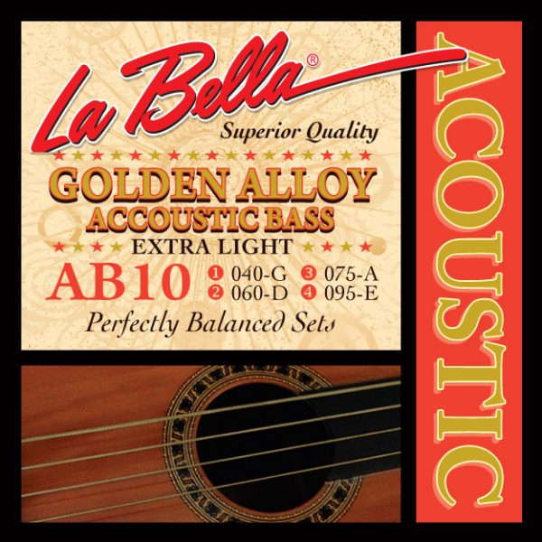 La Bella AB10 Golden Alloy Acoustic Bass Extra Light 40-95
