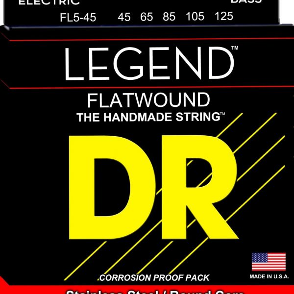 DR FL5-45 Legend 5 String Flat Wound 45-125