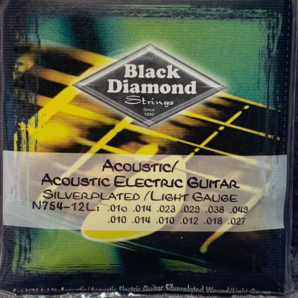 Black Diamond Acoustic Electric Silver Plated Light 12 string