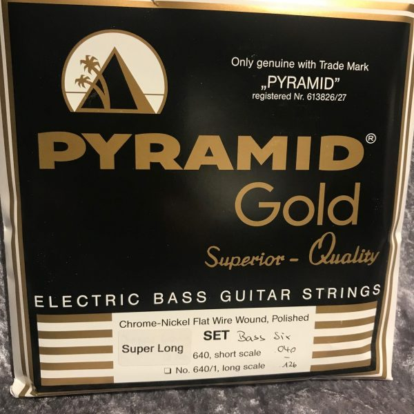 Pyramid Gold Chrome Nickel flat wound super long 6 string