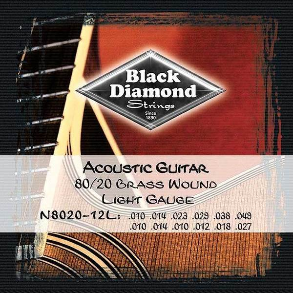Black Diamond N8020-12L Brass Wound light gauge 12 string acoustic