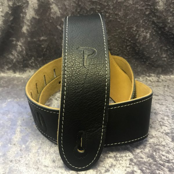 Perri's 2″ soft black leather guitar strap