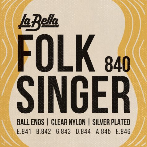 La Bella 840 Folksinger Clear Nylon Silver Plated