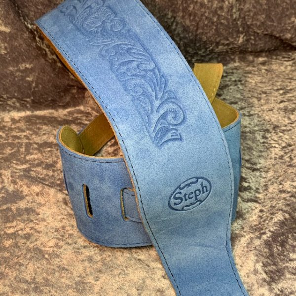 Steph BS2214LB Embossed Suede Guitar Strap