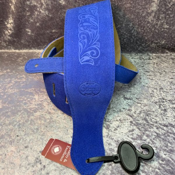 Steph BS2214ROY Embossed Suede Guitar Strap