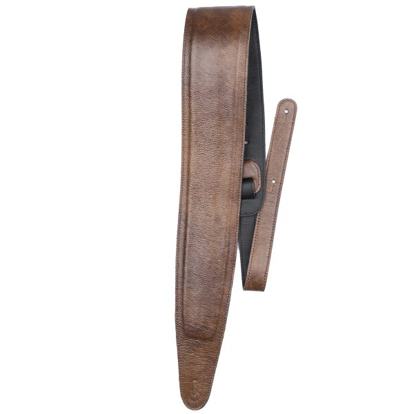 Perri's 3.5″ Padded leather guitar strap tan