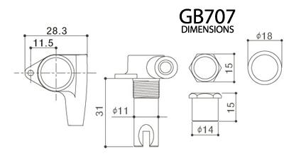 Gotoh GB707 2+2 Cosmo Black Bass Tuning Machines